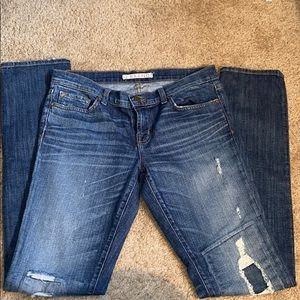 J Brand pencil leg distressed jeans